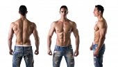 image of in front  - Three views of muscular shirtless male bodybuilder - JPG