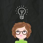 Cute cartoon smart girl and bulb lamp idea