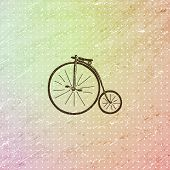 vintage grunge background with polka dots and retro bicycle