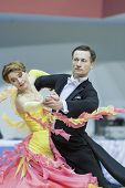 Minsk-belarus, March, 16: Sergey Domorad - Svetlana Domorad Perform Senior Standard European Program