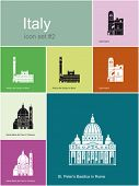 Landmarks of Italy. Set of flat color icons in Metro style. Editable vector illustration.