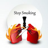 Human lungs in fire, cigarette and stylish text Stop Smoking background for World Asthma Day.