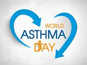 Stylish colorful text World Asthma Day with blue arrows on grey background.