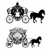 stock photo of charioteer  - vintage carriage silhouette   - JPG