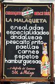 Spanish Bar Menu, Malaga, Spain.