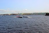 Pleasure Boats On The Neva River In St. Petersburg