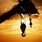 stock photo of crane hook  - The crane hook silhouette - JPG