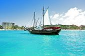 Sailingboat anchoring in the Caribbean