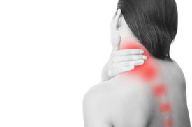 stock photo of chiropractor  - Pain in the neck of women - JPG