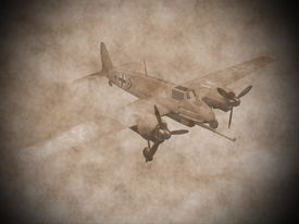 stock photo of swastika  - Green world war II german aircraft with swastika flying in vintage style - JPG