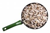 Mushrooms Are Pieces In A Skillet