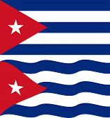 Flat and waving Cuban Flag. Vector
