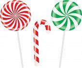 Set of colorful spiral candies lollipops. Vector