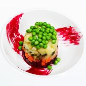 Preparation Of Salad Of Beets, Potatoes, Green Peas And Pickles, Russian Salad