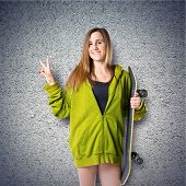 Girl With Thumb Up Over Textured Background
