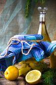 Alcohol Jar Quince Liqueur Sliced Fruit Prepare Wooden Setting