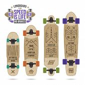 picture of wigwams  - Set of prints on longboard in r thin line style - JPG