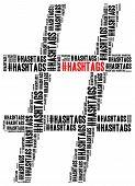 Hashtag In Social Media, # Symbol. Word Cloud Illustration.