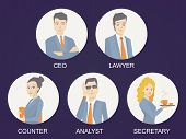 Vector Illustration Of A Portrait Of A Business Team Of Young Business People On Dark Background