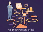 Vector Illustration Of A Portrait Of The Ceo Wearing A Jacket With Clasped Hands On His Chest Stands