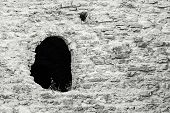 Stone Fortification Of Gray Color With A Window