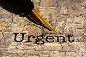 Fountain Pen On Urgent Text