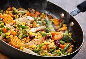 Wok Stir Fry Vegetables With Chicken Fillet