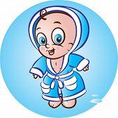 Baby Boy In Bathrobe