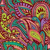Colourful seamless paisley pattern