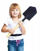 Little girl with a construction shovel.