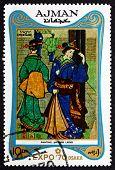 Postage Stamp Ajman 1970 Japanese Women, Painting