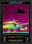 Postage Stamp Ajman 1972 Dc 8, Quantas, Airliner
