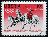 Postage Stamp Liberia 1956 Classic Chariot Race