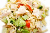 image of lo mein  - Close Up of Chicken and Broccoli with Pasta Noodles - JPG