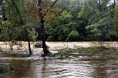 The Vidourle River In Flood After Heavy Rains