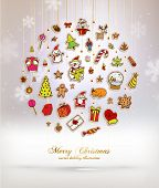 Christmas Set of Icons, Labels and Xmas Elements, Blurred Snowflakes, vector. Christmas Tree Paper Toys and Decorations. Template for Holiday Poster, Banner, Placard or Card.