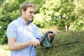Man Cutting Garden Hedge With Electric Trimmer