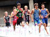 Triathletes Running