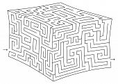 stock photo of brain-teaser  - Vector 3d cube maze  - JPG