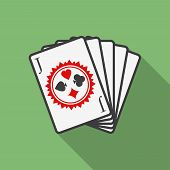 Playing Cards Icon. Modern Flat Style With A Long Shadow