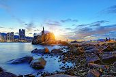 Hong Kong Sunset, Yau Tong Lei Yue Mun water bay and lighthouse