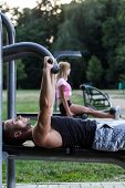 Man Training Chest Muscles