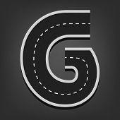 G letter. Road font