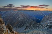 Sunrise light in the Transylvanian Alps, Romania, Europe