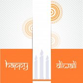 Happy Diwali celebrations greeting card design with candles on floral design decorated background.