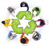 Multiethnic Group of People with Recycling Symbol