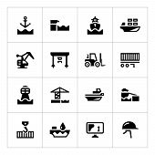 Set Icons Of Seaport