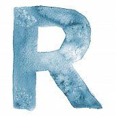 Watercolor vector capital letter R