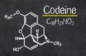 Blackboard with the chemical formula of Codeine