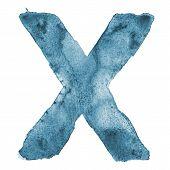 Watercolor vector capital letter X